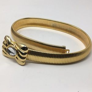 GOLD METAL LIKE BELT THICK RIBBED
